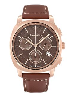 Smart Chrono men's watch with rose gold case and leather band Sport Watches, Watches For Men, Gold Leather, Brown Leather, Sapphire Bracelet, Watch Brands, Stainless Steel Case, Michael Kors Watch, Chronograph