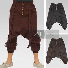 Harem Low-Crotch Punk Loose-Fitting Non-Stretch 3/4 Baggy Pants Costumes, POU003