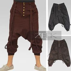 Harem Low-Crotch Punk Loose-Fitting Non-Stretch 3/4 Baggy Pants Costumes, POU003