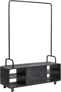 Black Clothes Rack with Shelves and Drawer