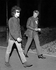 Bob Dylan with french singer Johnny Hallyday - Paris - May 1966