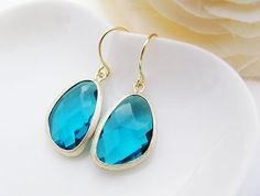 Ocean Blue Glass Matte Gold Trimmed Earrings - Bridal Earrings Bridesmaid Earrings. $21.80, via Etsy.    also from Earring Nation!