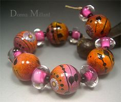 Handmade LAMPWORK Glass Bead Set DONNA MILLARD sra by DonnaMillard