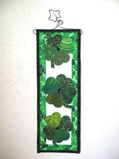 St. Patrick's Day Shamrock Mini Quilt by ThreadBasket on Etsy, $42.00