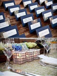 placecards, navy blue