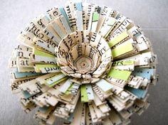 Paper Ornaments, Set of Six, Medium Size - Vintage, Antique, Paper, Text, Flower, Christmas, Holiday, Unique