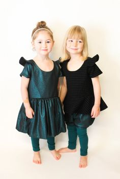 Lil luxe collection-Socialite peplum & bubble dress sewn by Filles a Maman