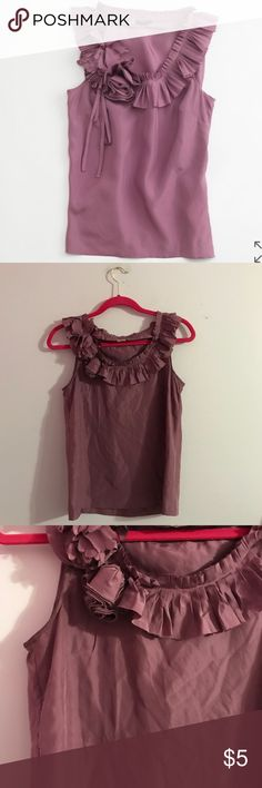 Purple J Crew Factory Silk Pleated Posy Floral Top In great condition! 2 small holes near armpit but not noticeable at all when worn. See photo. J. Crew Factory Tops Blouses