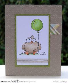 "FUN Birthday Card using From the Heart Stamps ""Birdbrain Balloon""."