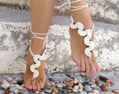 Black accessory. Barefoot sandals crochet wavy sandles by Lasunka