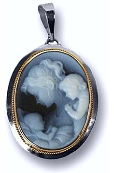 Mother with Two Children Blue Agate Cameo Pendant in Sterling Silver Frame