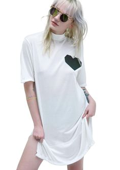 ESQAPE Lov T Dress our connection is supersonic electronic, bb! Let yer heart shine bright in this adorbz white tee dress, featuring a mock neck, slim fit and suuuper soft construction, ESQ branding on tha neck, side slits, and an ultra cute reflective heart on tha chest.