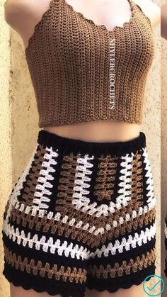Crochet Shorts Pattern, Black Crochet Shorts, Crochet Top Outfit, Crochet Pants, Crochet Blouse, Crochet Clothes, Crochet Lingerie, Crochet Bra, Mode Du Bikini
