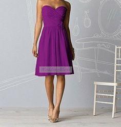 Purple Bridesmaid Dress Chiffon Sweetheart Dress by WeddingBless, $88.00