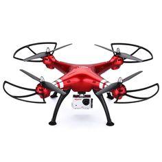 Syma X8HG - Drone Quadcopter RC FPV Sin Cabeza 6 Axis Gyro (con Cámara Deportiva 8.0M, 4 Canales, 2.4GHz, 360 ° Tirones), color rojo: Amazon.es: Juguetes y juegos