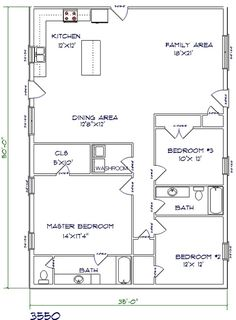 1,750 sq ft. Barndominium. Cut BR3 off even with master closet. Move laundry across to take up remaining space and to increase Master closet size.