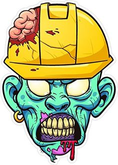 3 & Blue Zombie w / Hard Hat HardHat / Helmet Stickers Hard Hat Stickers, Funny Stickers, Bumper Stickers, Zombie Head, Hard Hats, New Sticker, Screen Printing, Helmet, Prints