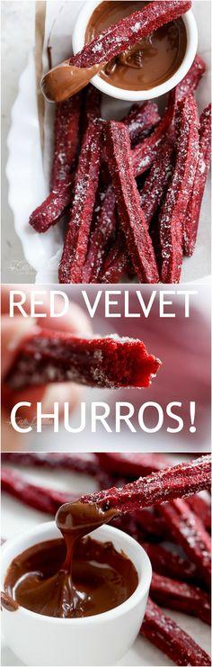 The Best Red Velvet Churros (Baked) + VIDEO! | http://cafedelites.com