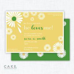 he loves me // daisy shower invitation | by cakecreativeco