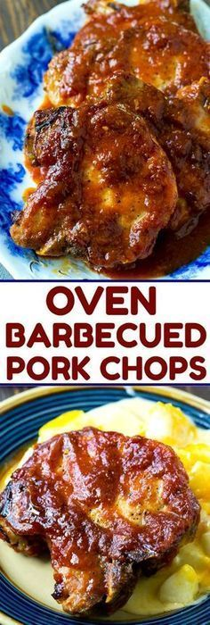oven baked pork chops Easy Oven Barbecued Pork Chops are cooked in a tangy BBQ sauce that is lick your finger good! You get that delicious bbq flavor without ever turning on your g Barbecue Pork Chops, Sauce Barbecue, Pork Ribs, Bbq Porkchops In Oven, Bbq Baked Pork Chops, Oven Baked Pork Chops, Grill Barbecue, Boneless Pork Chops, Pork Recipes