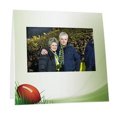 Football Field Instax Frame from StudioStyle.com - works great for candid sports event photos, athletic booster club giveaways, senior night photo favors, or youth camp picture frames. Parents will love the keepsake! Just add your school mascot, event logo, or personalization.  Frames ship flat (you fold them). Die cut tabs hold your Fuji Instax instant picture in place, and make it easy to quickly insert photos at your event. Holds an Instax 200, 210, or 300 Instant Film Camera print.