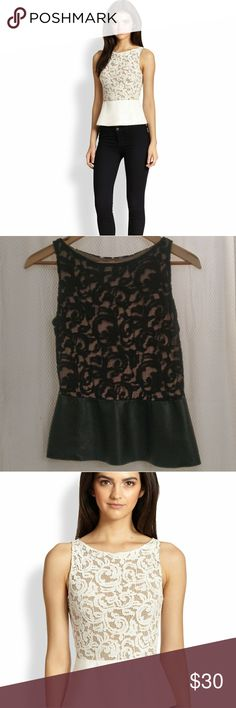 """Bailey 44 lace combo peplum top faux leather S Black Lace on nude lining and faux leather top from Bailey 44, from Saks. 22"""" from shoulder to hem and 14"""" across bust when laid flat. EUC  with no visible flaws. Button closure on back with slit opening.  Color is black and tan; white stock photo used to show fit. Bailey 44 Tops Blouses"""