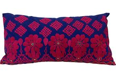 Vintage Mathurawadi Blue & Pink Pillow