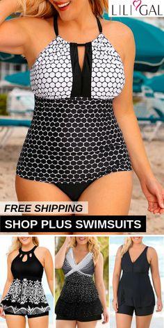97367bf9b161d4 Find latest blue printed(polka dot print, stripe print) #plussize #swimwear  trends at #liligal, cute&comfy for curvy girls, high q…
