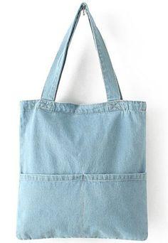 Bolso denim bolsillos-azul | Mode de Mujer | SHEIN España Denim Tote Bags, Denim Purse, Diy Tote Bag, Denim Bags From Jeans, Denim Shorts, Denim Bag Patterns, Bag Patterns To Sew, Bag Sewing Pattern, Couture Cuir
