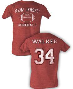 17722f721 USFL New Jersey Generals T-shirt Herschel Walker Adult Red Heather Tee