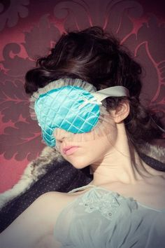 Sleep mask 'Chantilly' quilted teal silk and white silk tulle  - Couture Collection. €65.00, via Etsy.