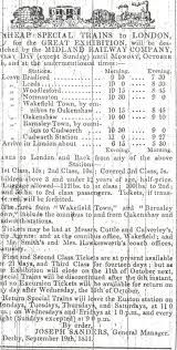 Advertisment for cheap rail fares to London to see the Great Exhibition. Huddersfield Weekly Examiner September 19th 1851.©Huddersfield Examiner