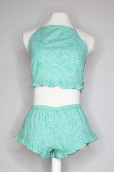 SARAH SET - AQUA CRUSH (RUFFLE EDGE) Teal Background, Aqua, Turquoise, Halter Crop Top, Light Teal, Lace Trim, Crushes, Cotton Fabric, Dreams