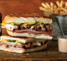 Add a smoky kick to the traditional Cubano sandwich with this recipe from Sammy Hagar. Quesadillas, Cubano Sandwich, Cuban Bread, Cooking Recipes, Healthy Recipes, Healthy Food, Comida Latina, Cuban Recipes, Wrap Sandwiches