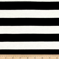 """Rayon Spandex Jersey Knit 1"""" Stripe Ivory/Black from @fabricdotcom This lightweight rayon jersey knit fabric features a smooth hand and a 40% stretch across this grain. It is perfect for making t-shirts, loungewear, yoga pants and more!"""