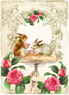 Bunny Rabbit Tea Party Woodland Giclee collage art print as a collectible ACEO.    This enchanting print was created using original artwork by