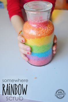 This DIY rainbow sugar scrub is whimiscal.  The colors (and smells) of the rainbow, bottled up and ready to soften even the roughest hands!