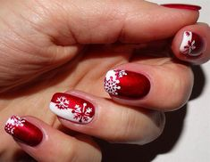 130 festive and easy christmas nail art designs you must try page 43 Fingernail Designs, Red Nail Designs, Beautiful Nail Designs, Nail Polish Designs, Nails Design, Nail Art Noel, Snowflake Nail Art, Red Nail Art, Snowflakes