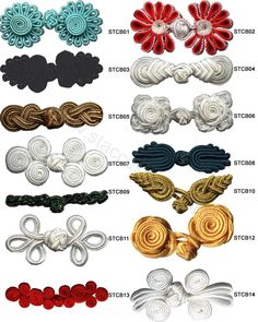 Resultado de imagen para chinese knot buttons how to make Sewing Lessons, Sewing Hacks, Sewing Crafts, Diy Buttons, Button Flowers, Fabric Manipulation, Cheongsam, Sewing Techniques, Buttonholes