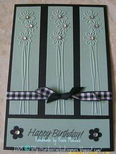 By Rosie Morales. This is one of the first Cuttlebug embossing strips I purchased. Nice to have an idea for using it!