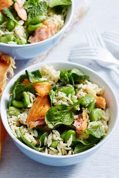 In-season broad beans are at their finest in this light and lovely spring salad. Bulk it up with risoni pasta and flake through some smoked salmon for a salad that will be the hero of any feast. Easy Salad Recipes, Veggie Recipes, Lunch Recipes, Seafood Recipes, Diet Recipes, Vegetarian Recipes, Cooking Recipes, Healthy Recipes, Healthy Breakfast Smoothies