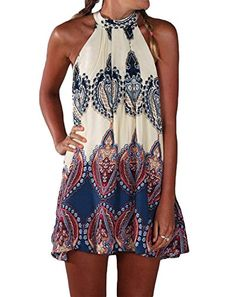 Women's Casual Dresses - Bluetime Womens Casual Sleeveless Halter Neck Boho Print Short Dress Sundress >>> Check out this great product. (This is an Amazon affiliate link)