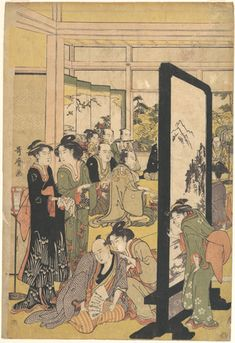 Kitagawa Utamaro: The Artist Kitao Masanobu Relaxing at a Party - Metropolitan Museum of Art Japanese Artwork, Japanese Prints, Art Asiatique, Traditional Japanese Art, Japanese Illustration, Art Japonais, Japan Art, Woodblock Print, Print Artist