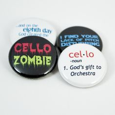 Cello Zombie Buttons or Magnets - and 3 more music and orchestra designs - size one inch. $5.00, via Etsy.