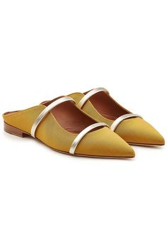 MALONE SOULIERS - Maureen Slip-On Mules with Leather | STYLEBOP Yellow Style, Malone Souliers, Slip On Mules, Yellow Fashion, Flats, Sandals, Leather, Shopping, Shoes