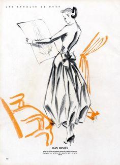 Jean Dessès 1947  Robe de Diner, Fernando Bosc Fashion Illustration