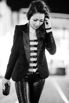 tux, stripes, sequins