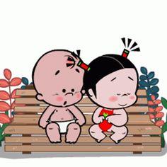 Love Is Cartoon, Cute Couple Cartoon, Cute Cartoon Pictures, Cute Cartoon Characters, Cute Love Cartoons, Cartoon Gifs, Gif Animé, Animated Gif, Good Morning Love Gif