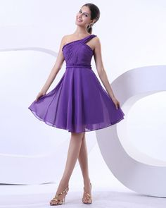 osell wholesale dropship Yarn Ruffle Layered One Shoulder Knee Length Cocktail prom Dresses $61.98
