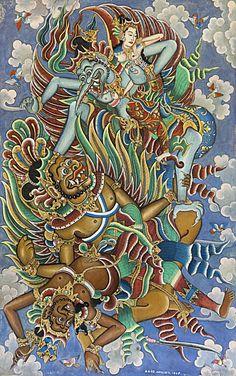 Jatayu attacks Ravana, balinese painting